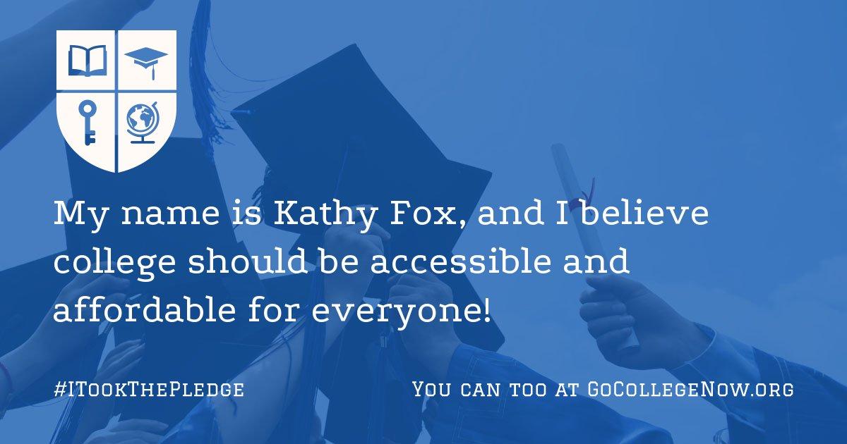 Kathy Fox's Go College! Now Pledge Page